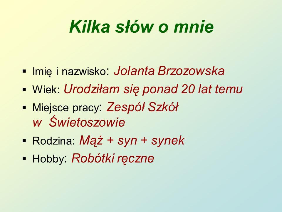 Kilka słów o mnie Imię i nazwisko: Jolanta Brzozowska