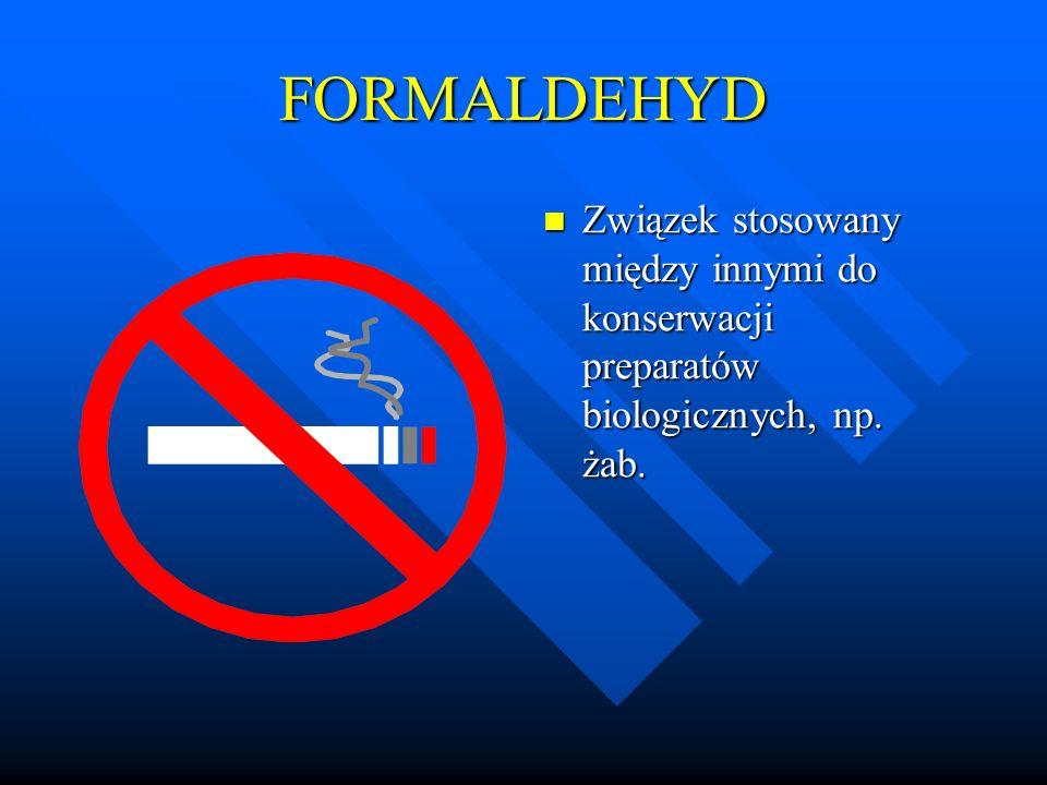 FORMALDEHYD Związek stosowany między innymi do konserwacji preparatów biologicznych, np. żab.