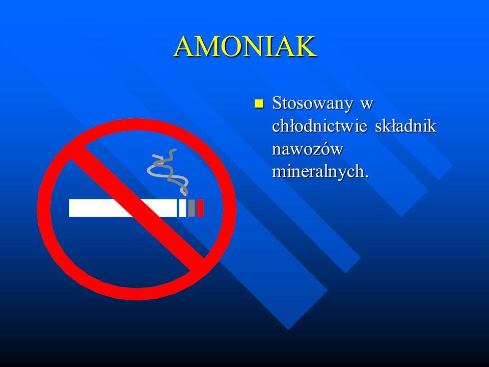 AMONIAK Stosowany w chłodnictwie składnik nawozów mineralnych.