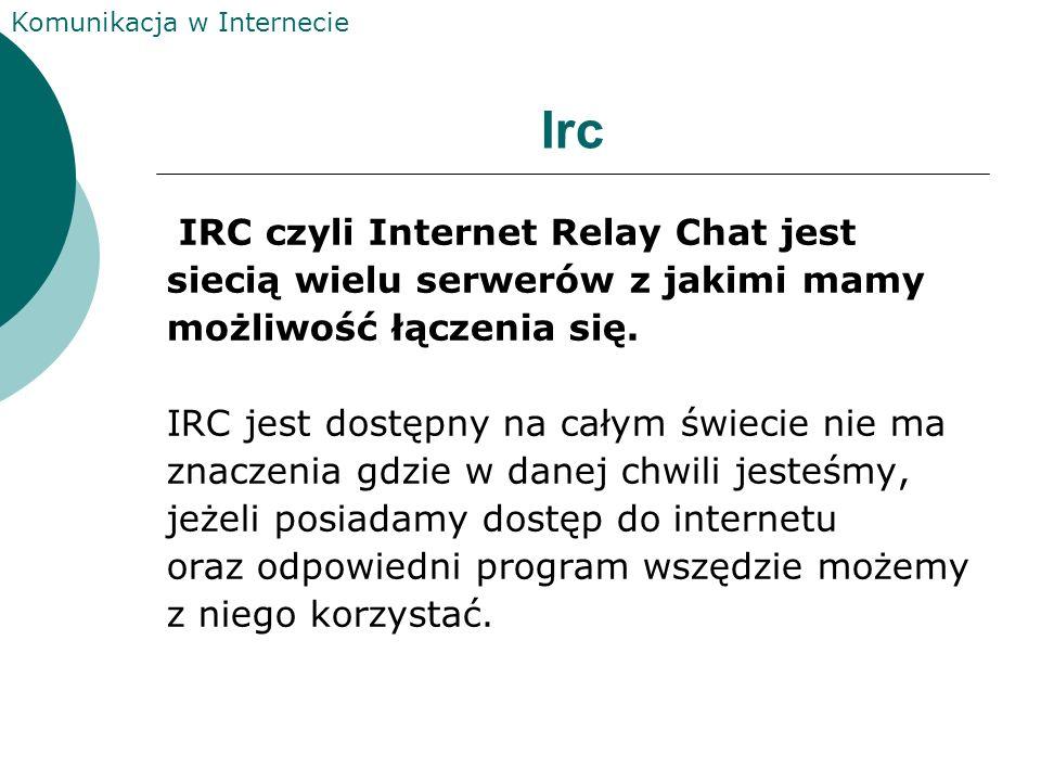 Irc IRC czyli Internet Relay Chat jest