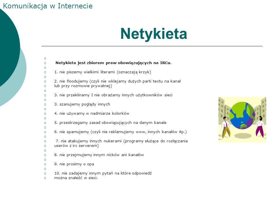 Netykieta Netykieta jest zbiorem praw obowiązujących na IRCu.