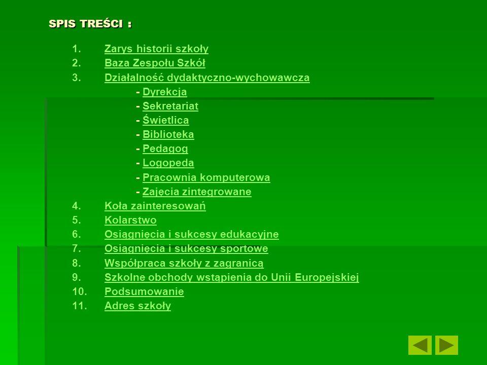 SPIS TREŚCI :Zarys historii szkoły. Baza Zespołu Szkół. Działalność dydaktyczno-wychowawcza. - Dyrekcja.