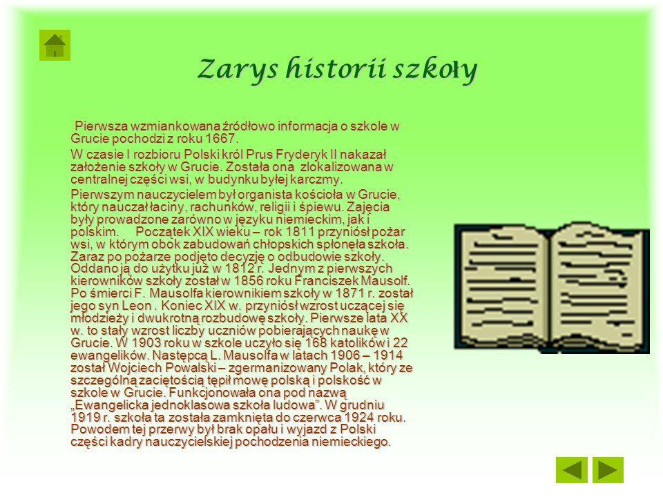 Zarys historii szkoły Pierwsza wzmiankowana źródłowo informacja o szkole w Grucie pochodzi z roku 1667.