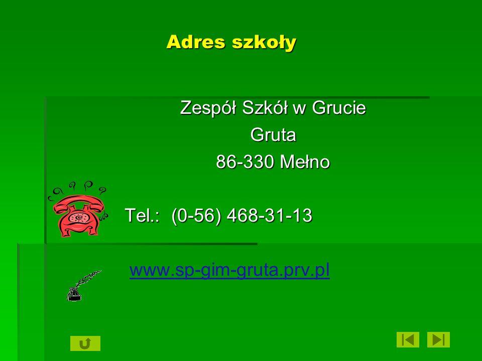 Adres szkoły Zespół Szkół w Grucie. Gruta. 86-330 Mełno.
