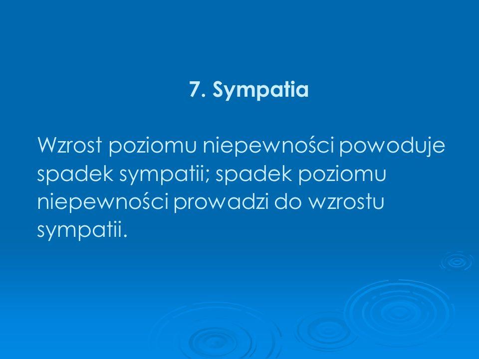 7. Sympatia Wzrost poziomu niepewności powoduje. spadek sympatii; spadek poziomu. niepewności prowadzi do wzrostu.