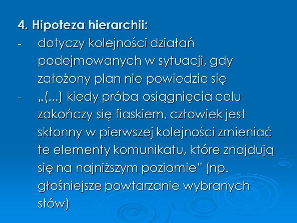 4. Hipoteza hierarchii: dotyczy kolejności działań. podejmowanych w sytuacji, gdy. założony plan nie powiedzie się.