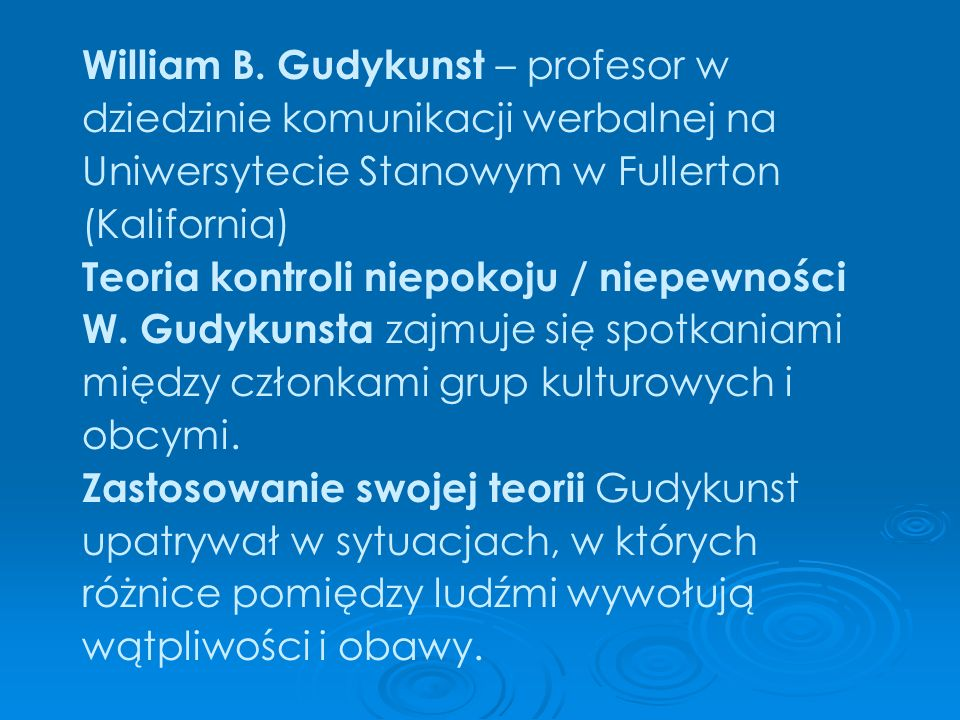 William B. Gudykunst – profesor w