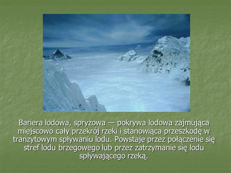 Bariera lodowa, spryżowa — pokrywa lodowa zajmująca miejscowo cały przekrój rzeki i stanowiąca przeszkodę w tranzytowym spływaniu lodu.