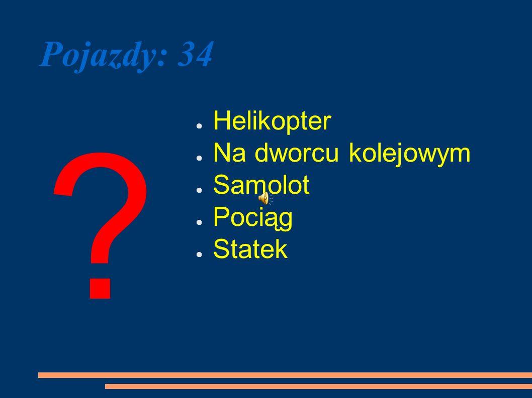 Pojazdy: 34 Helikopter Na dworcu kolejowym Samolot Pociąg Statek