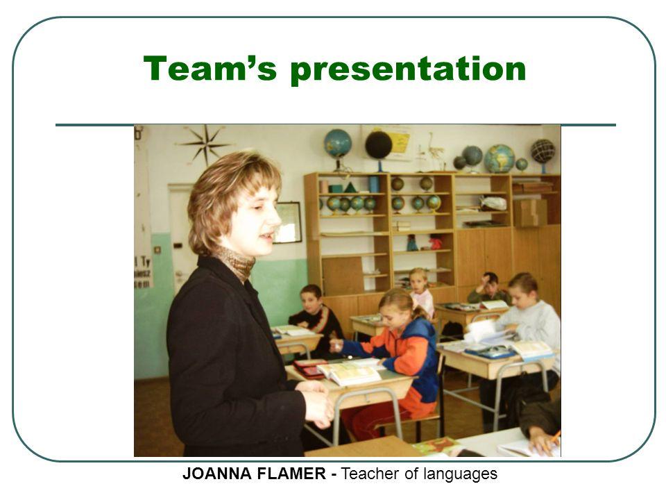 Team's presentation JOANNA FLAMER - Teacher of languages