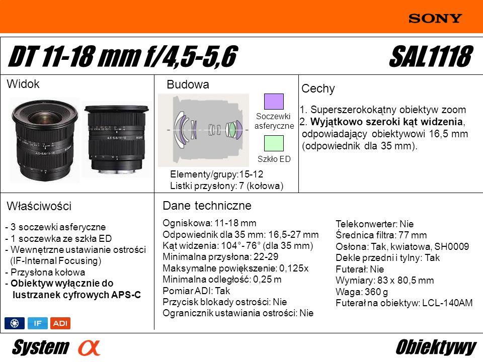 DT 11-18 mm f/4,5-5,6 SAL1118 System Obiektywy Widok Budowa Cechy