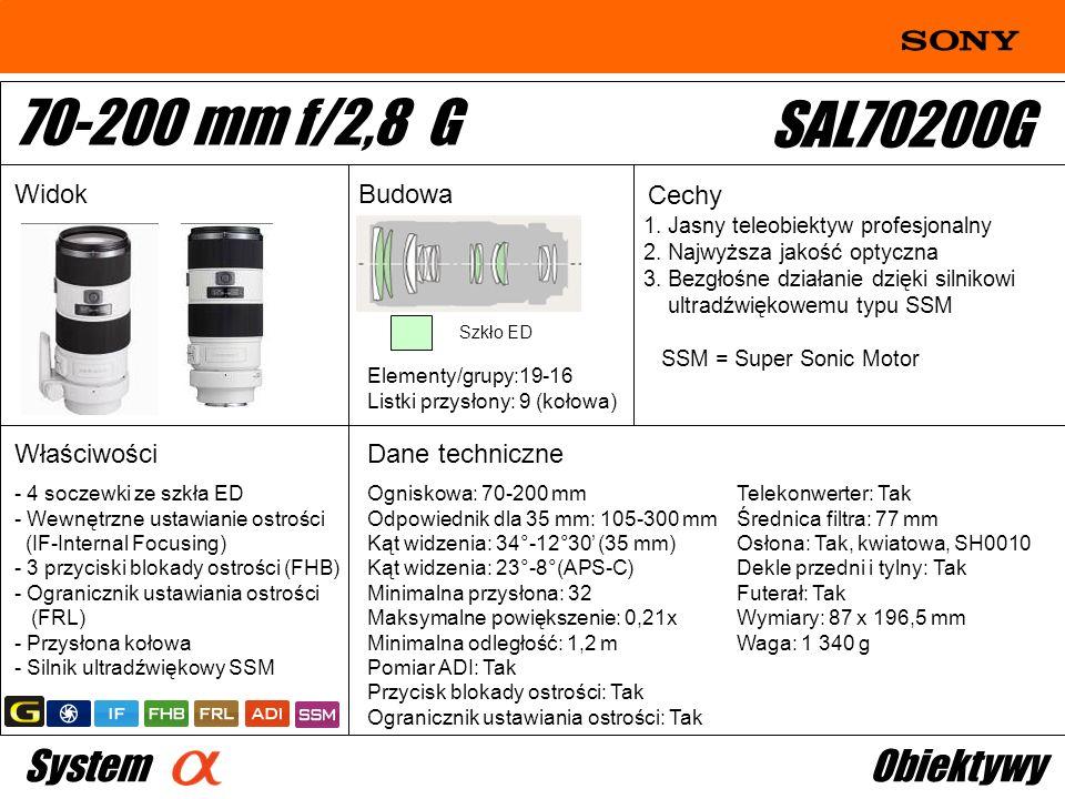 70-200 mm f/2,8 G SAL70200G System Obiektywy Widok Budowa Cechy