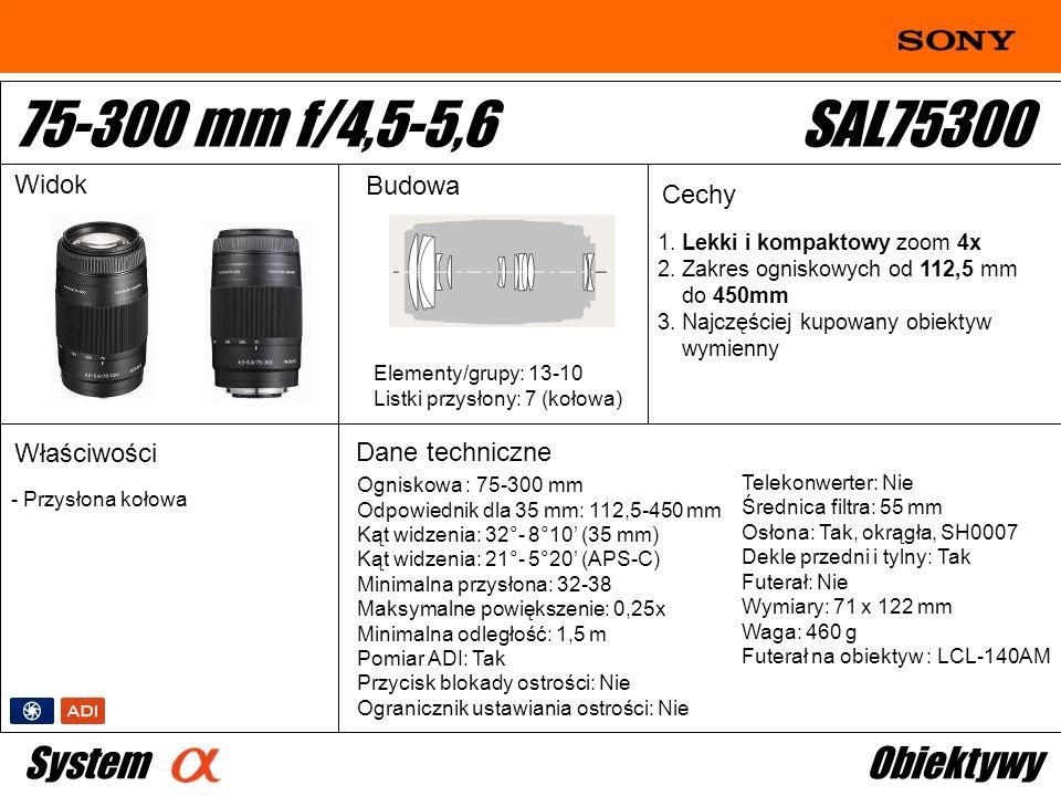 75-300 mm f/4,5-5,6 SAL75300 System Obiektywy Widok Budowa Cechy