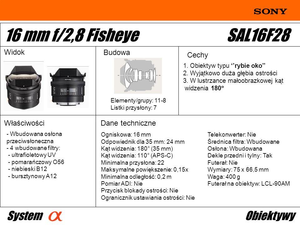 16 mm f/2,8 Fisheye SAL16F28 System Obiektywy Widok Budowa Cechy