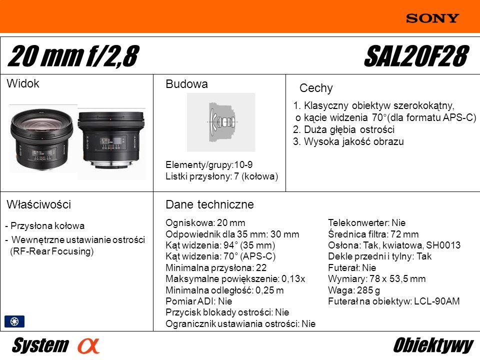 20 mm f/2,8 SAL20F28 System Obiektywy Widok Budowa Cechy Właściwości