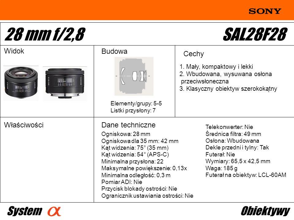 28 mm f/2,8 SAL28F28 System Obiektywy Widok Budowa Cechy Właściwości