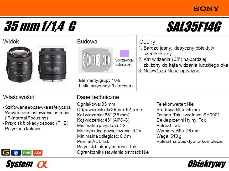 35 mm f/1,4 G SAL35F14G System Obiektywy Widok Budowa Cechy