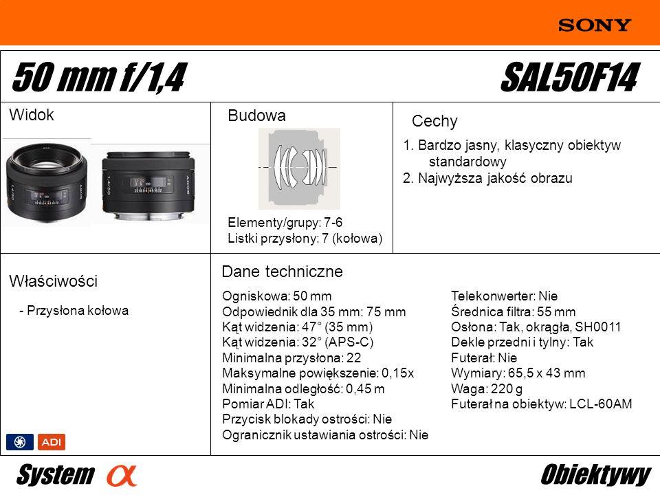 50 mm f/1,4 SAL50F14 System Obiektywy Widok Budowa Cechy