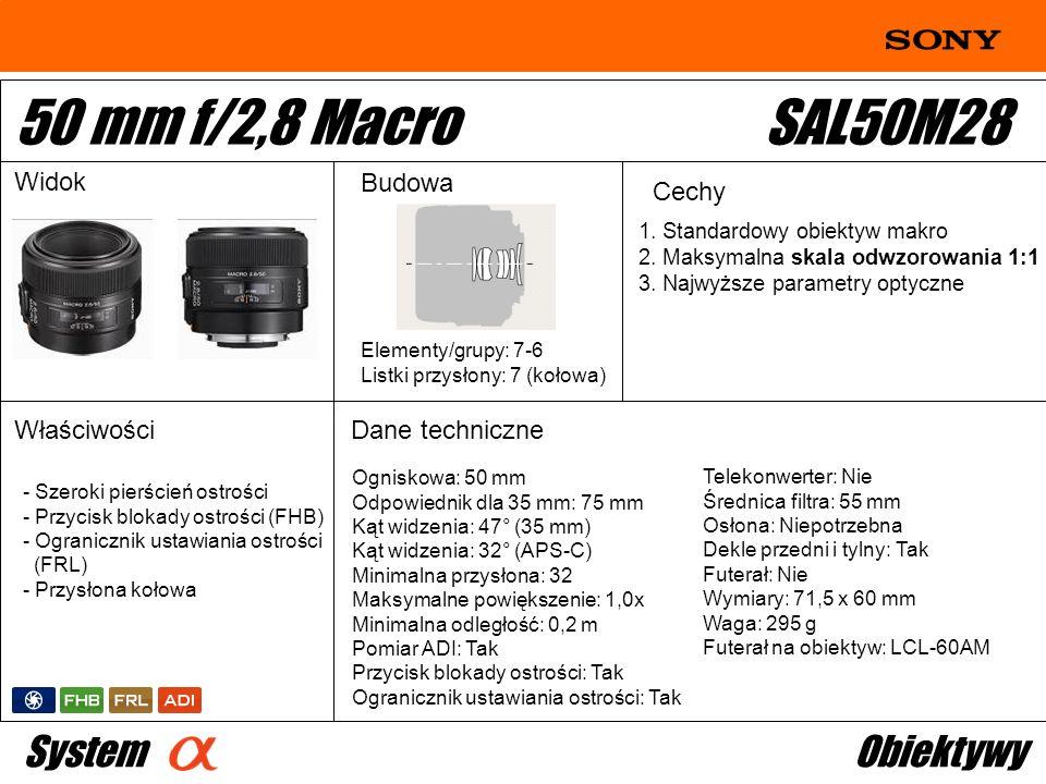 50 mm f/2,8 Macro SAL50M28 System Obiektywy Widok Budowa Cechy