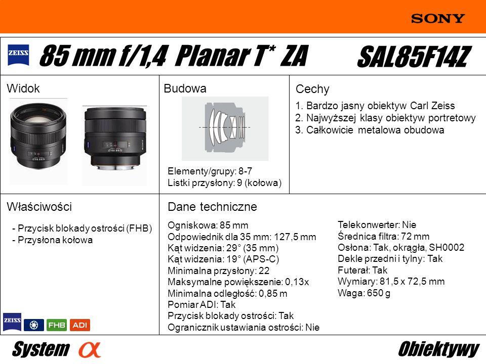 85 mm f/1,4 Planar T* ZA SAL85F14Z System Obiektywy Widok Budowa Cechy