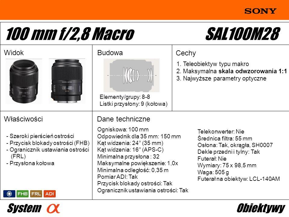 100 mm f/2,8 Macro SAL100M28 System Obiektywy Widok Budowa Cechy