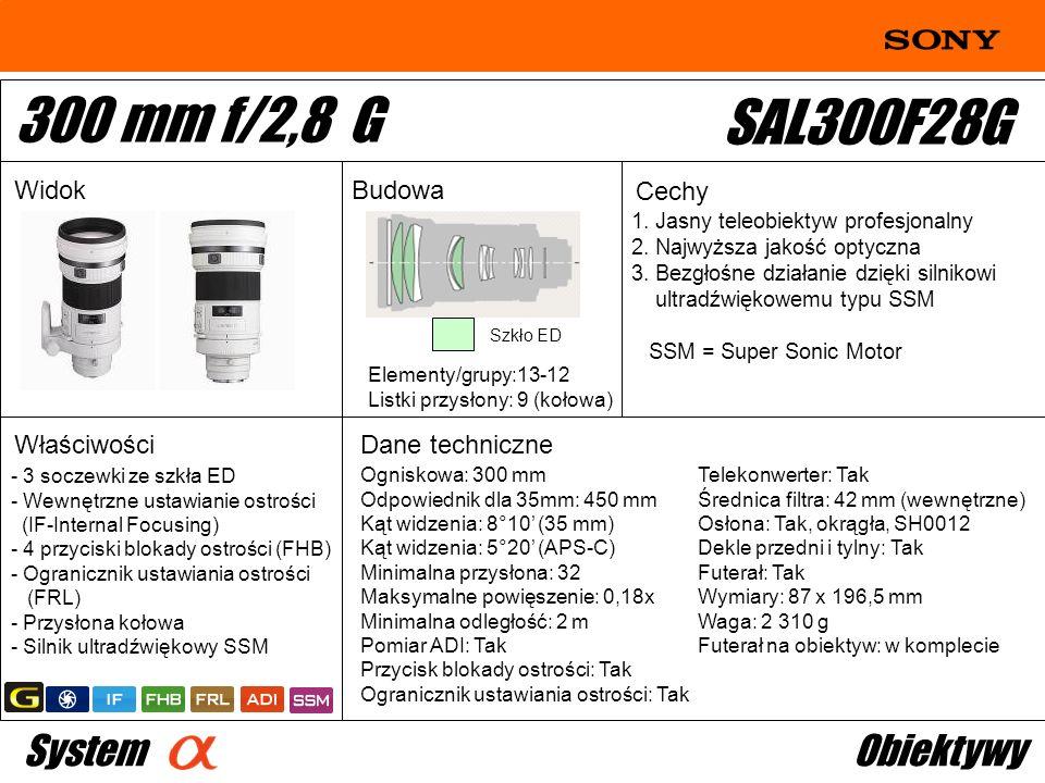 300 mm f/2,8 G SAL300F28G System Obiektywy Widok Budowa Cechy