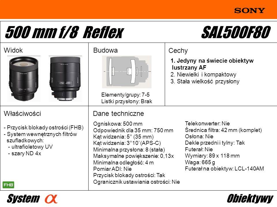 500 mm f/8 Reflex SAL500F80 System Obiektywy Widok Budowa Cechy