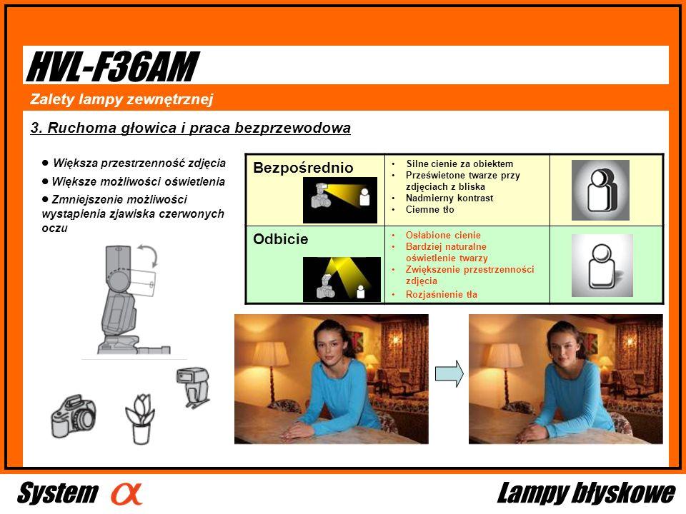 HVL-F36AM System Lampy błyskowe Bezpośrednio Zalety lampy zewnętrznej