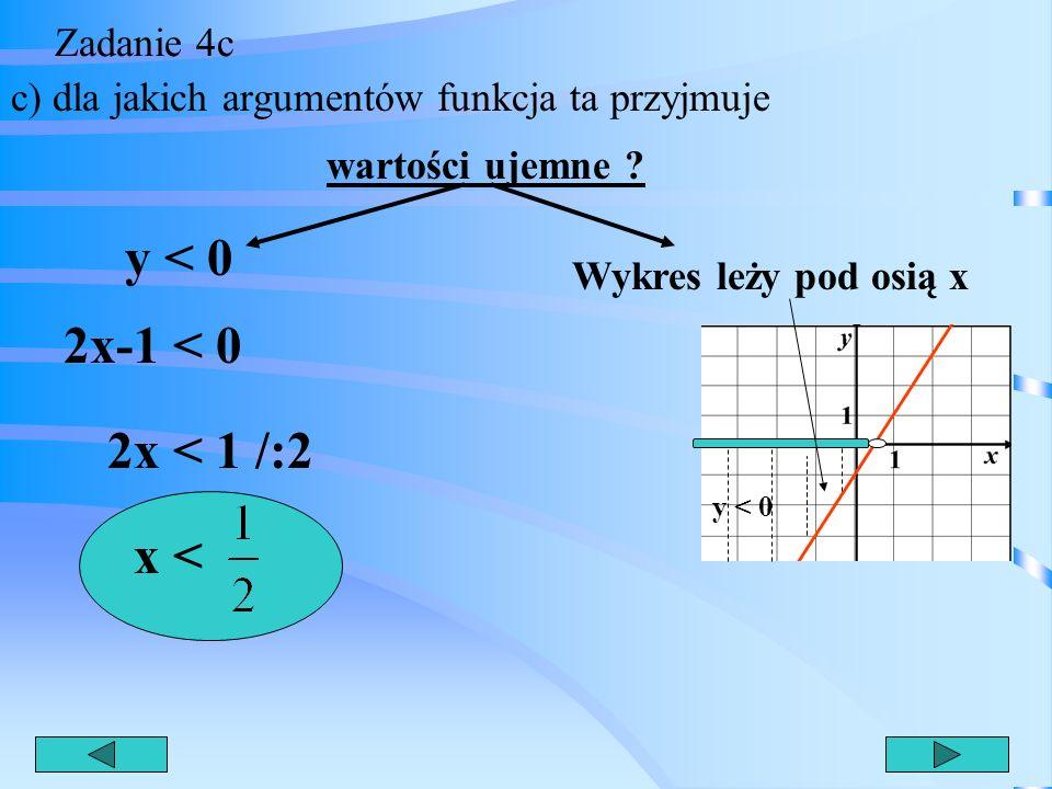y < 0 2x-1 < 0 2x < 1 /:2 x < Zadanie 4c