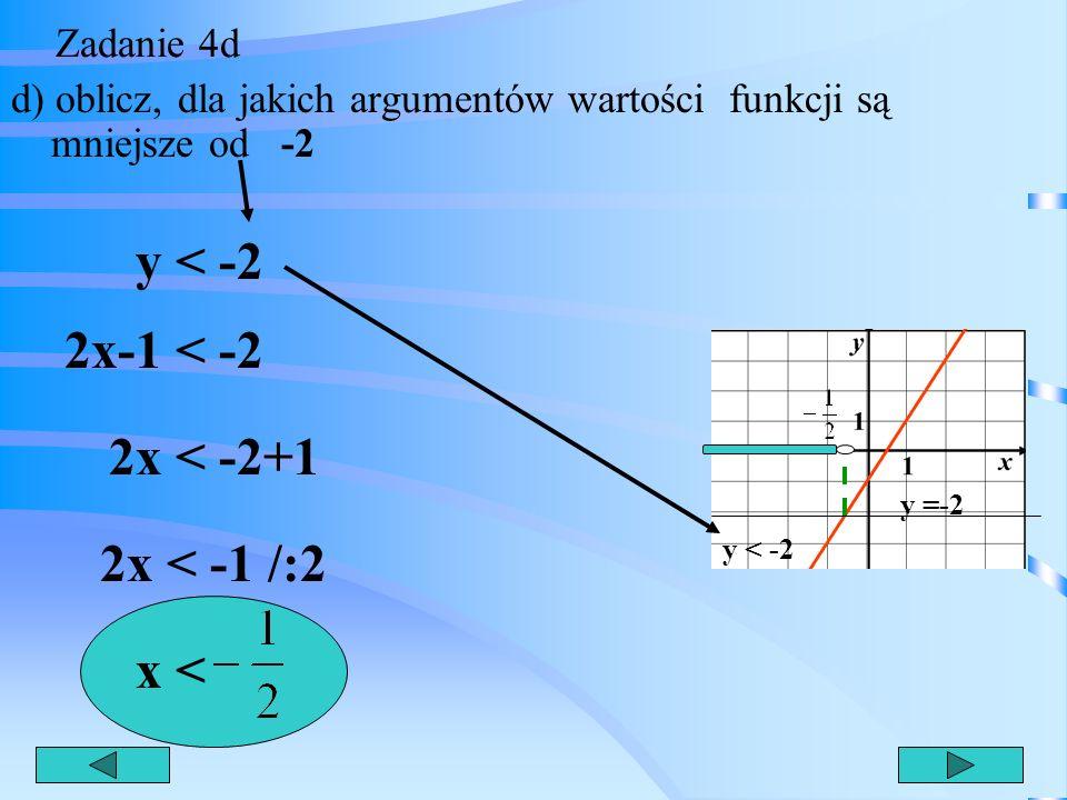 y < -2 2x-1 < -2 2x < -2+1 2x < -1 /:2 x < Zadanie 4d