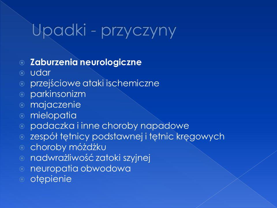 Upadki - przyczyny Zaburzenia neurologiczne udar