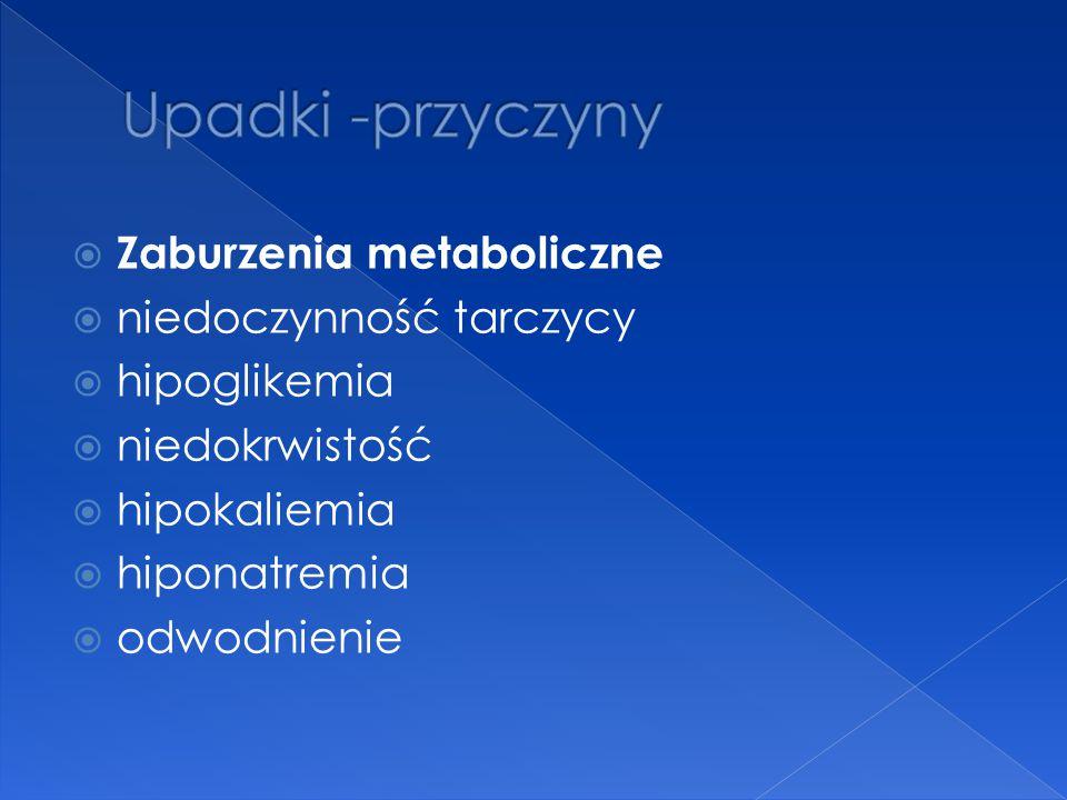 Upadki -przyczyny Zaburzenia metaboliczne niedoczynność tarczycy