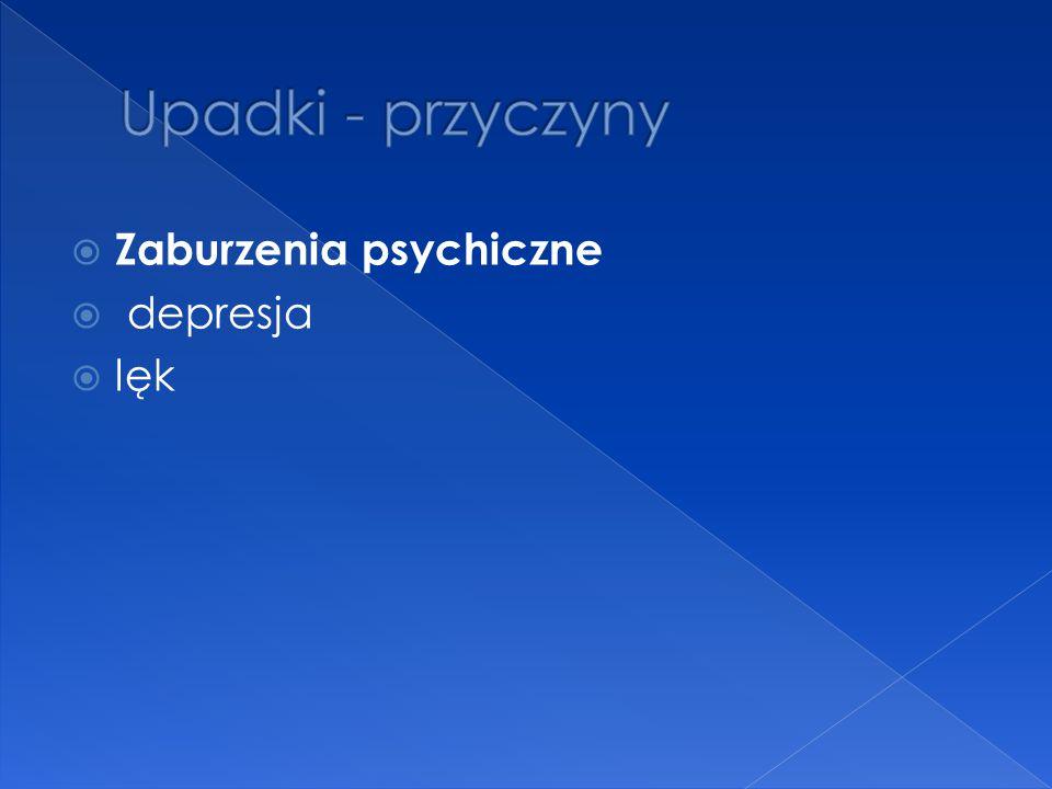 Upadki - przyczyny Zaburzenia psychiczne depresja lęk