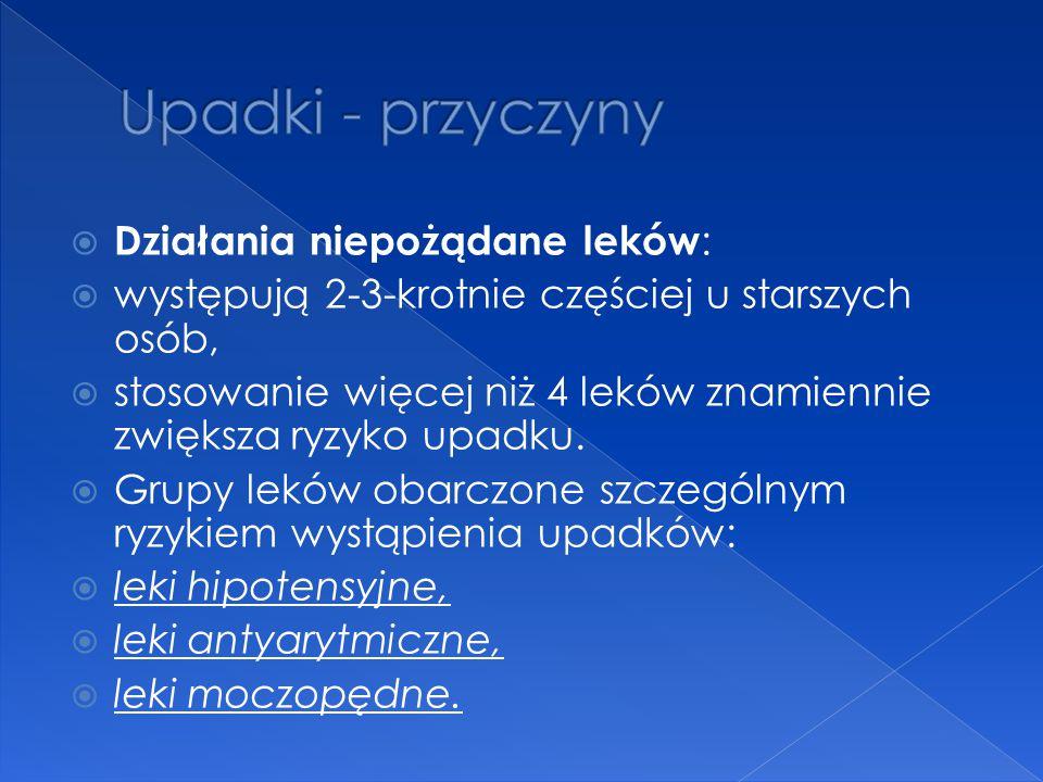 Upadki - przyczyny Działania niepożądane leków: