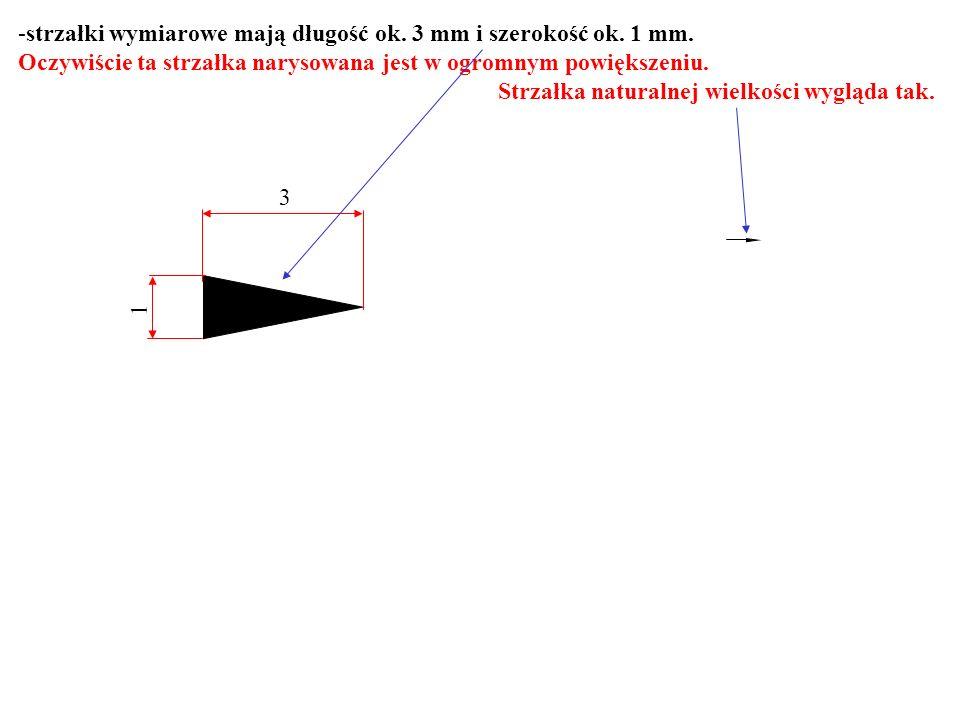 strzałki wymiarowe mają długość ok. 3 mm i szerokość ok. 1 mm.