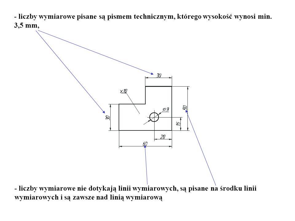 - liczby wymiarowe pisane są pismem technicznym, którego wysokość wynosi min. 3,5 mm,