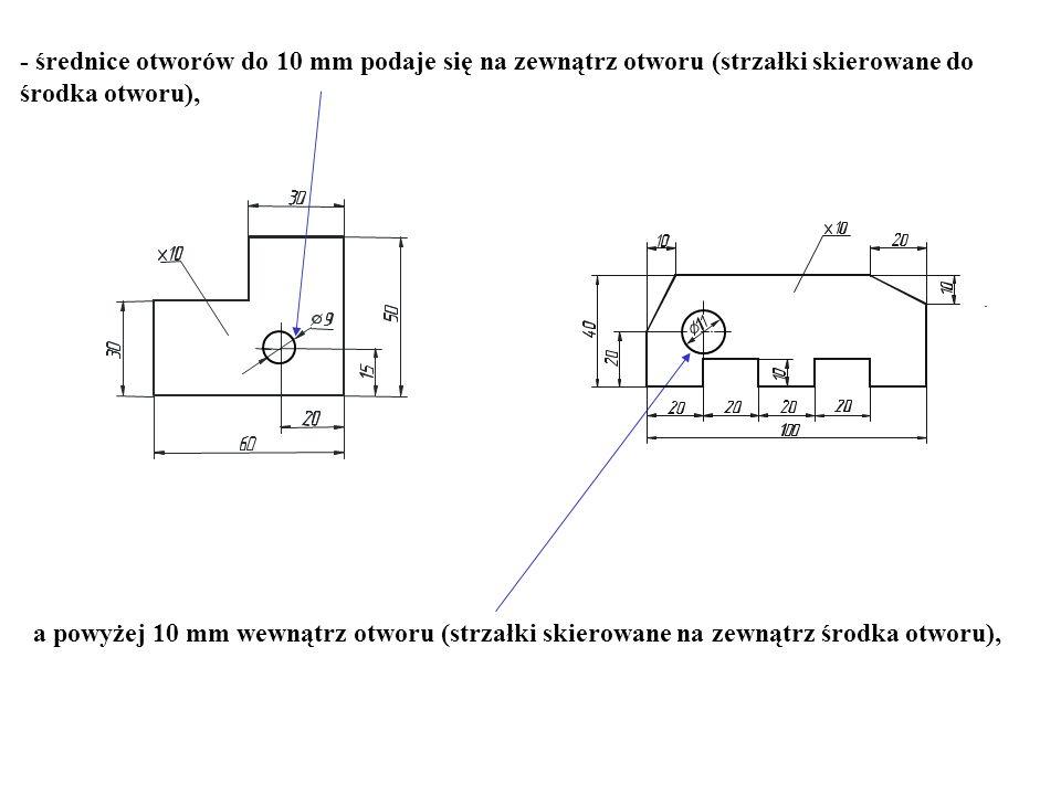 - średnice otworów do 10 mm podaje się na zewnątrz otworu (strzałki skierowane do środka otworu),