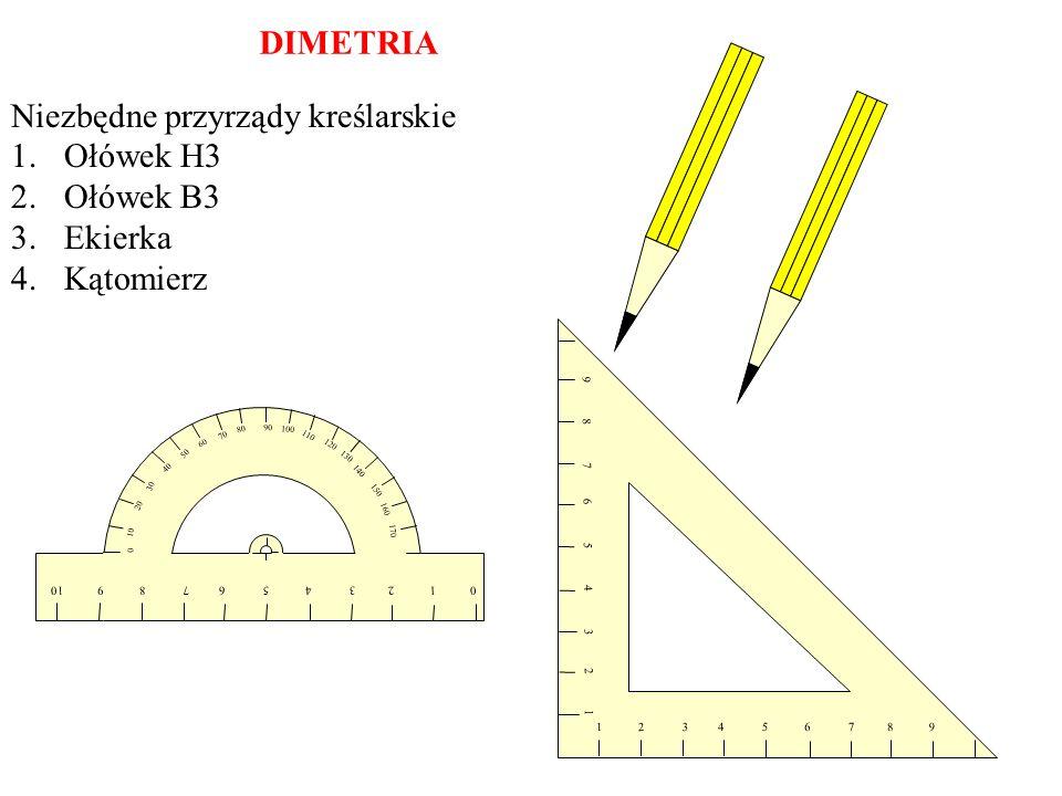 Niezbędne przyrządy kreślarskie Ołówek H3 Ołówek B3 Ekierka Kątomierz