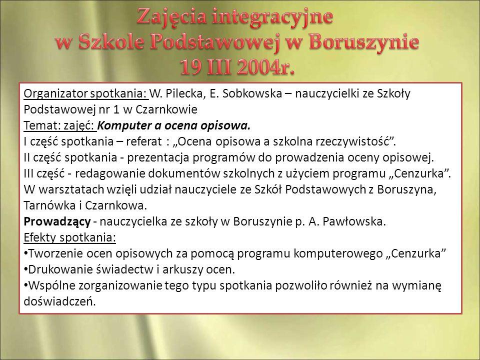 w Szkole Podstawowej w Boruszynie