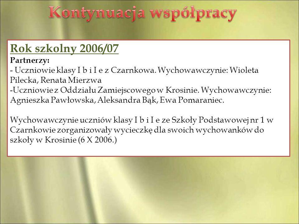 Rok szkolny 2006/07 Partnerzy:
