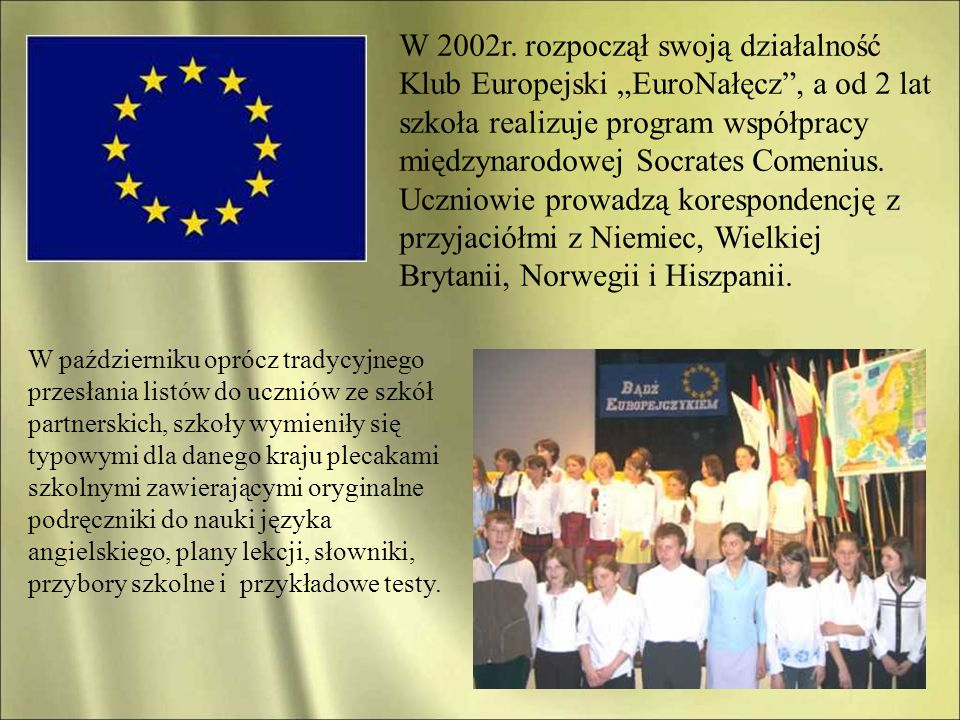 """W 2002r. rozpoczął swoją działalność Klub Europejski """"EuroNałęcz , a od 2 lat szkoła realizuje program współpracy międzynarodowej Socrates Comenius. Uczniowie prowadzą korespondencję z przyjaciółmi z Niemiec, Wielkiej Brytanii, Norwegii i Hiszpanii."""
