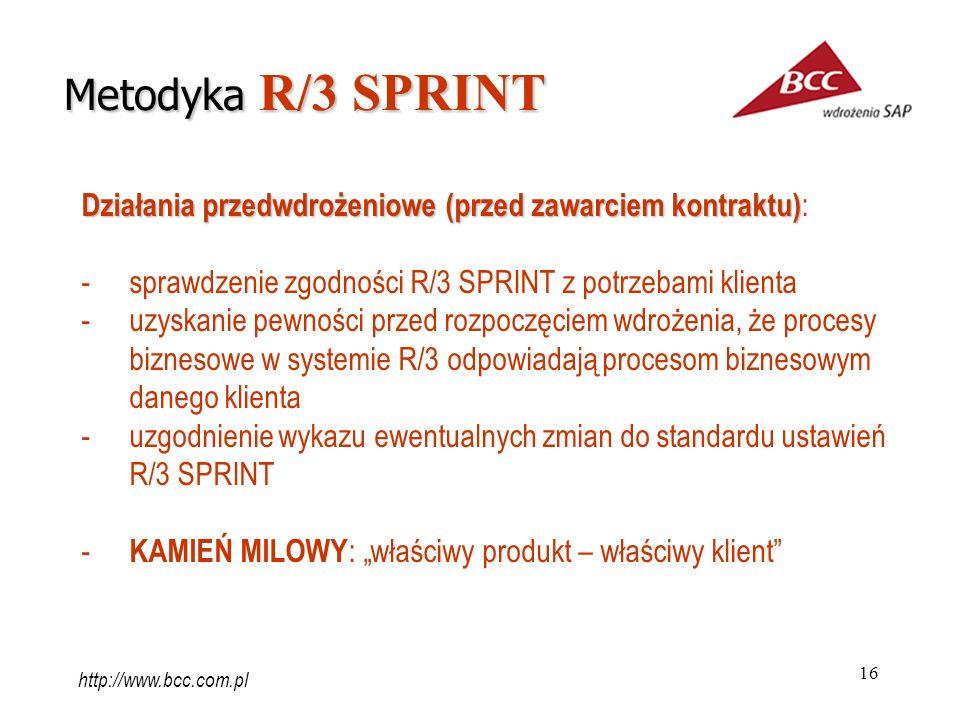 Metodyka R/3 SPRINT Działania przedwdrożeniowe (przed zawarciem kontraktu): sprawdzenie zgodności R/3 SPRINT z potrzebami klienta.