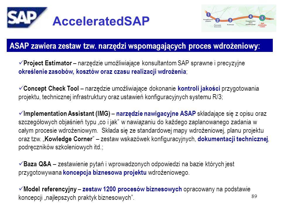 AcceleratedSAP ASAP zawiera zestaw tzw. narzędzi wspomagających proces wdrożeniowy: