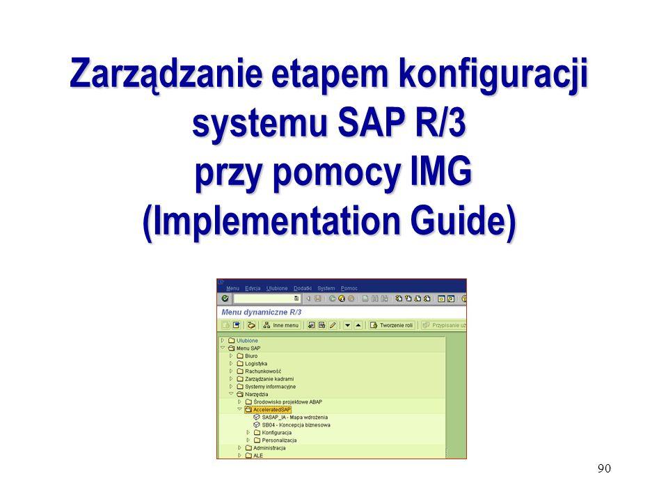 Zarządzanie etapem konfiguracji systemu SAP R/3 (Implementation Guide)