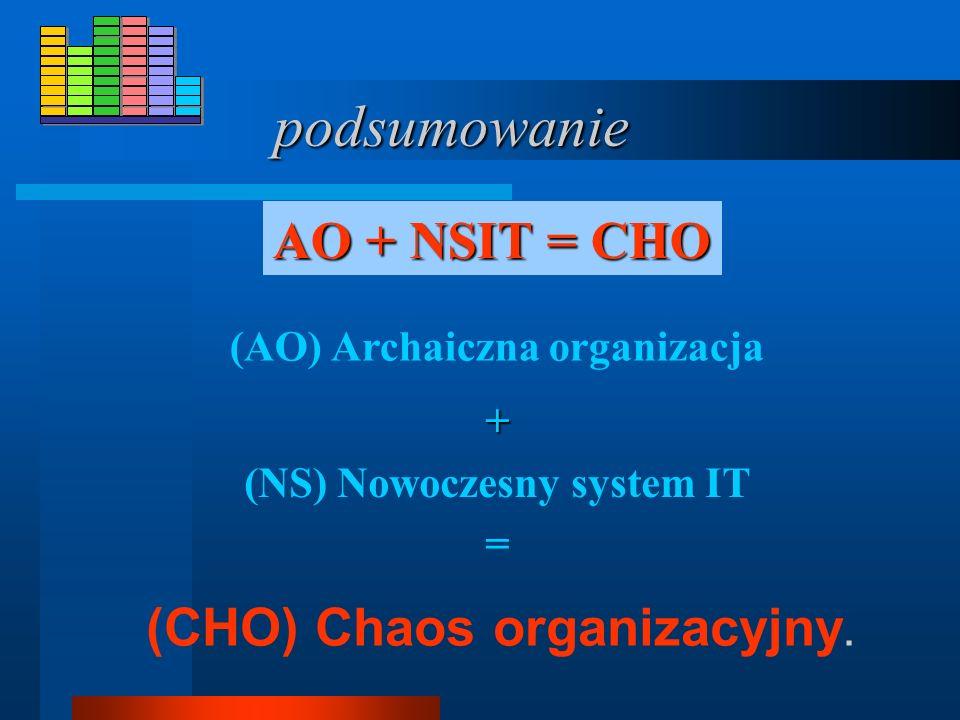 (NS) Nowoczesny system IT (CHO) Chaos organizacyjny.