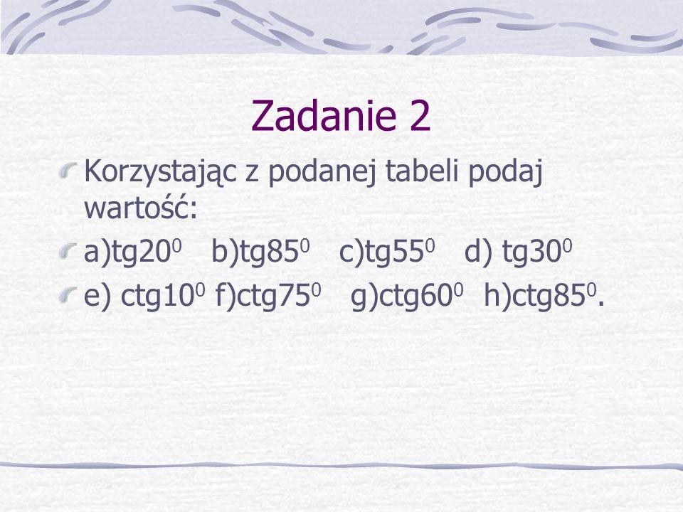 Zadanie 2 Korzystając z podanej tabeli podaj wartość: