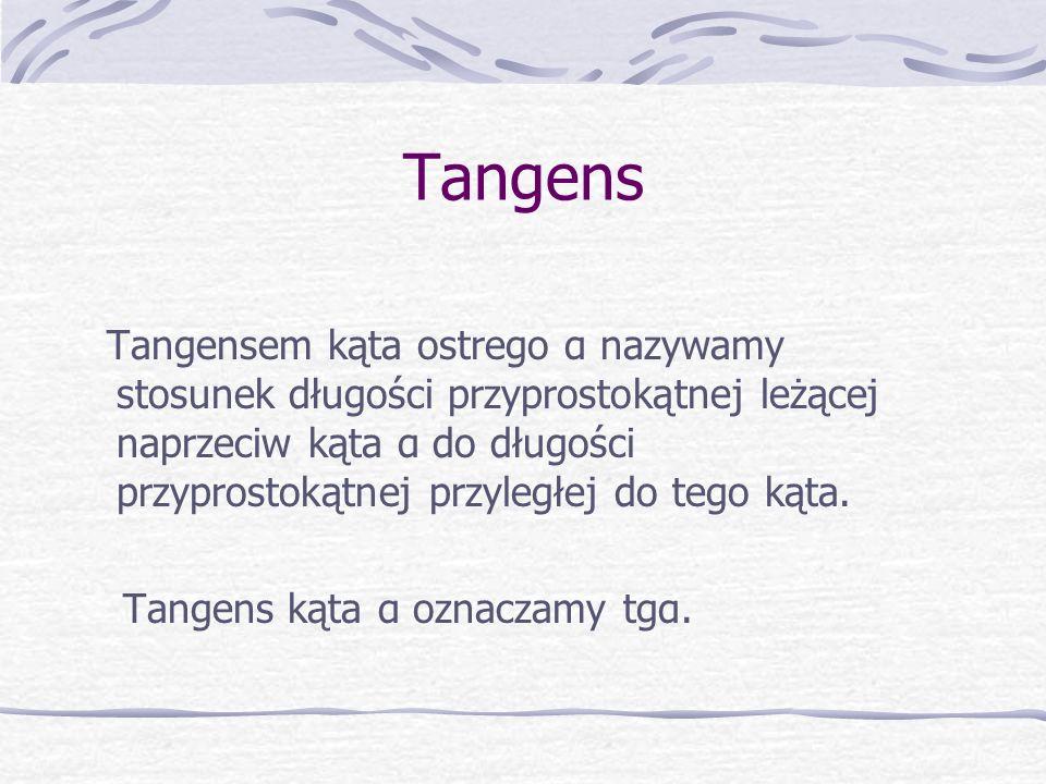 Tangens Tangens kąta α oznaczamy tgα.