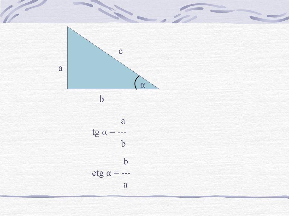 c a α b a tg α = --- b b ctg α = --- a