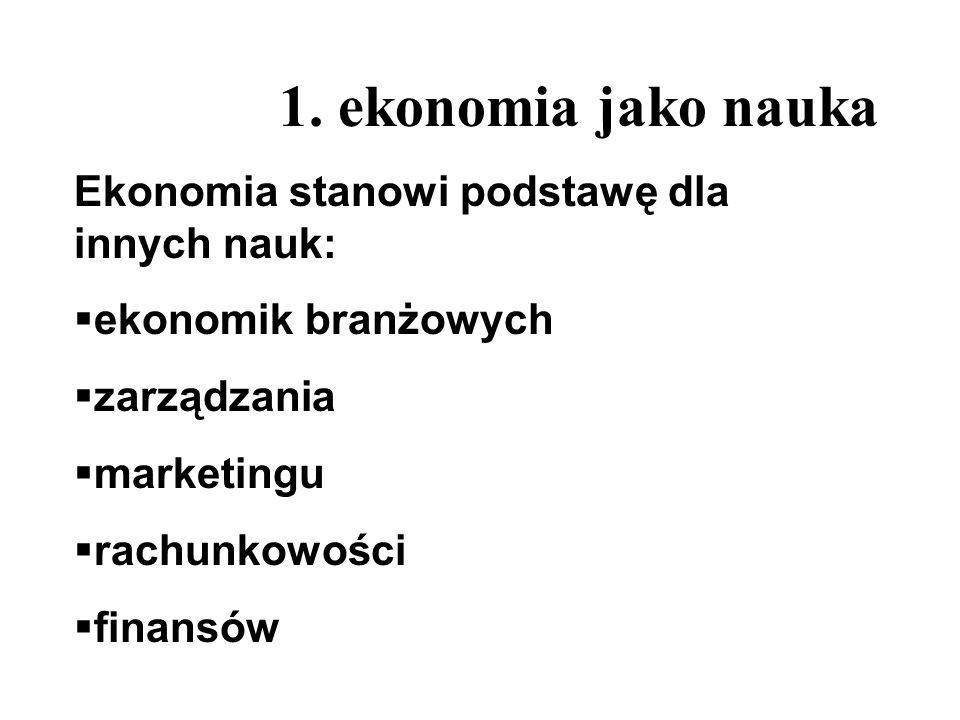 1. ekonomia jako nauka Ekonomia stanowi podstawę dla innych nauk: