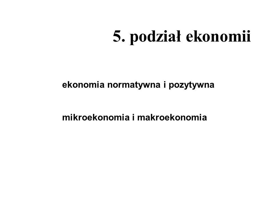 5. podział ekonomii ekonomia normatywna i pozytywna
